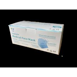 Masque chirurgical 3 plis avec élastique - boîte de 50 pièces