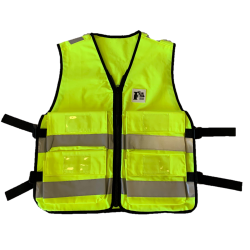 Gilet tissu jaune avec 4 poches, L-XL