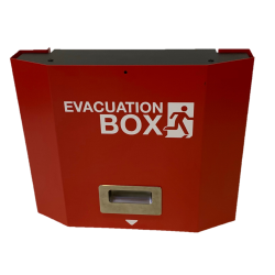 Box d'évacuation rouge en acier, vide