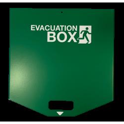 Box d'évacuation verte en acier, vide